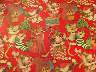 Vtg Christmas Wrapping Paper Gift Wrap 1960 Reindeer Puppy Kitten Squirrel Nos