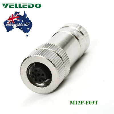 VELLEDQ Field Assembly IP67 M12 Connector 3-Pin Female A Coding Plug Fittings AU