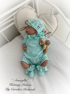 """Amaryllis "" Romper Knitting pattern for Reborn doll 16 -22"" or 0-3 Mth Old Baby"