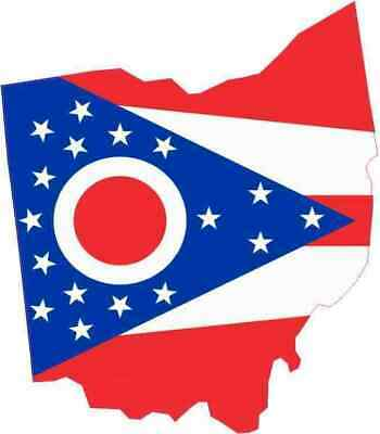 4.25in x 5in Die Cut Ohio Sticker Vinyl State Flag Vehicle Bumper Stickers