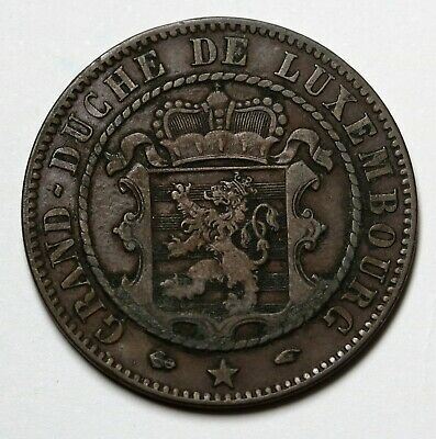 1860 Luxembourg 10 Centimes Coin Willem III KM# 23