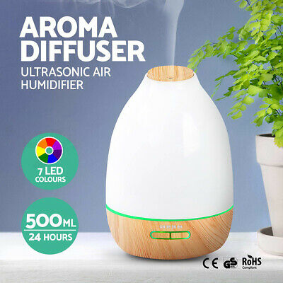 500ml Essential Oil Aroma Aromatherapy LED Air Humidifier Mist Purifier Diffuser