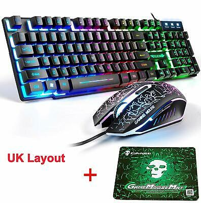 UK T6 Usb Rainbow Backlit Wired Gaming Keyboard and 2400DPI Gaming Mouse Set