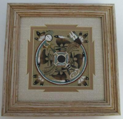 Authentic NAVAJO Sand Painting Framed Native Artwork Norman Simms Bears Feathers
