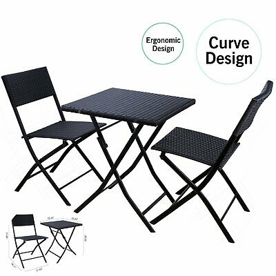 Patio Bistro Set Rattan Table Chair Set Outdoor Indoor Furniture Wicker Foldable