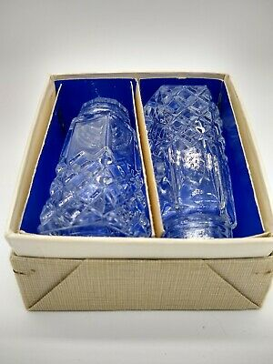Vintage Cut Clear Glass Top Salt and Pepper Shakers BOXED Crystal?