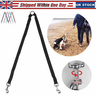 Double Dog Leash Rope No Tangle Coupler Nylon Lead Pet Leashes for Two Dogs UK