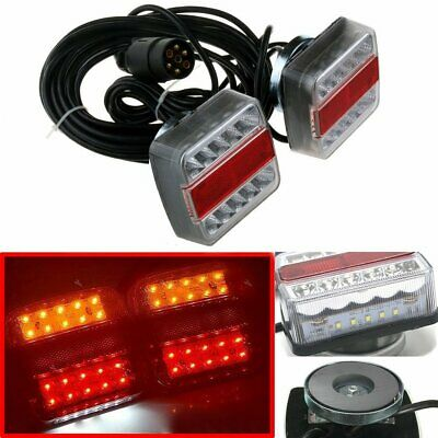 Pair Magnetic 15 LED 7 PIN Trailer Truck Towing Lightboard Tail Light Indicator