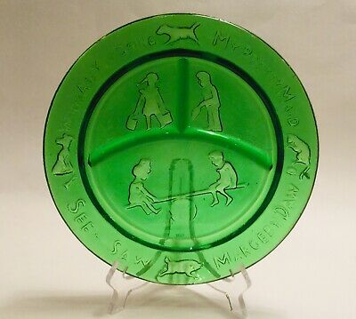 Vtg Green Children's Nursery Rhyme Plate-Where Are You Going-Tiara/Indiana Glass