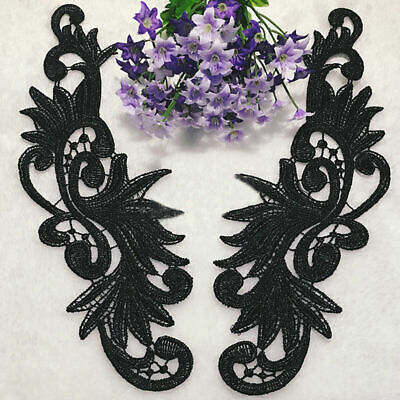 1Pair DIY Lace Flowers Trim Embroidery Sewing Bridal Applique /Black Dress J3B9