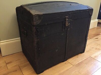 19 C Antique French Parisian Travel Trunk Steamer Chest Black Dome Barrel Stave