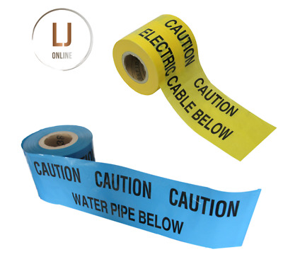 Caution underground warning tape electric cable water pipe below cut lengths New