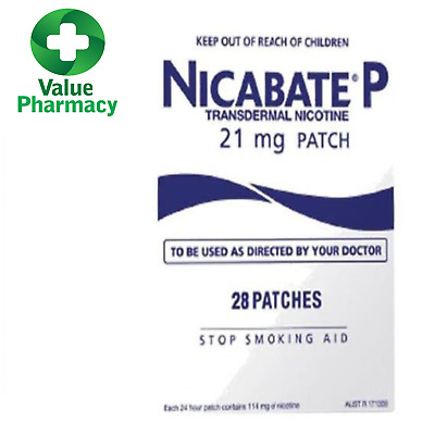 New NICABATE P 21MG PATCH 28 PACK STOP SMOKING AID 24 HOUR RELEASE NICOTINE