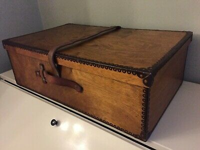 Rare Vintage Plywood Travel Box Case Suitcase Leather Strap Venesta Luterma 1941