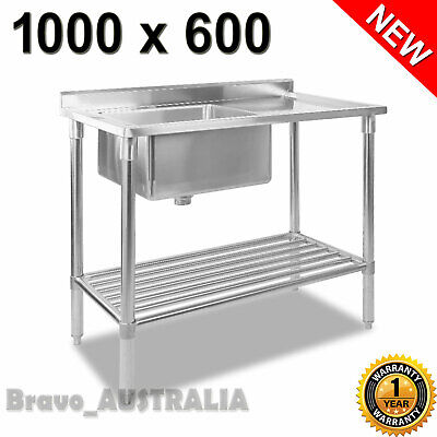 Kitchen Work Bench Sink Bowl Stainless Steel Commercial Restaurant Food Prep