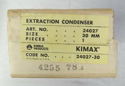 Kimble Kimax Extraction Condenser 24027 30mm - NOS Never Used - in Original Box