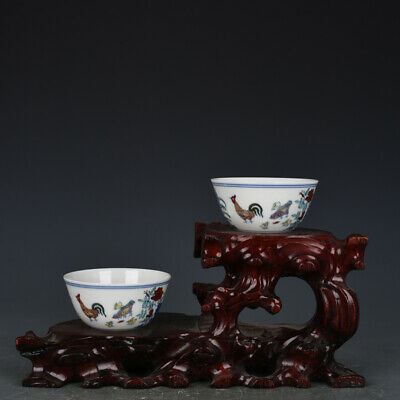 Chinese old antique Porcelain chenghua mark famille rose Chicken jar Cup A Pair