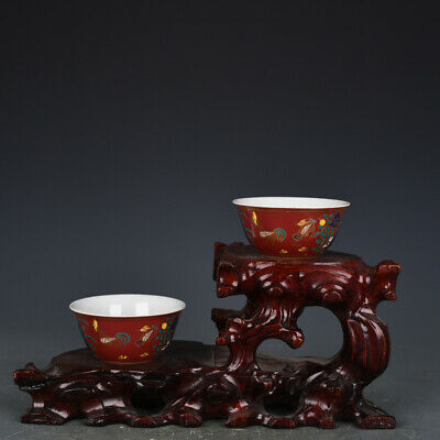 "3"" China antique Porcelain chenghua mark gilt red glaze Chicken jar Cup A Pair"