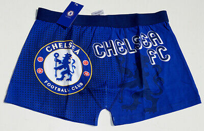 Chelsea FC Official Football Gift Mens Crest Boxer Shorts Blue