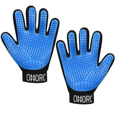 OMORC Pet Grooming Glove, [Upgraded Version] Gentle Blue-New Version