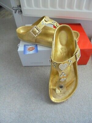 separation shoes a81aa 24811 LADIES BIRKENSTOCK SANDALS 'crystal Gold' By Heidi Klum Size 39 -Uk 6