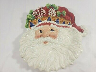"""Fitz and floyd classics Santa Claus christmas plate 11"""" decoration handcrafted"""