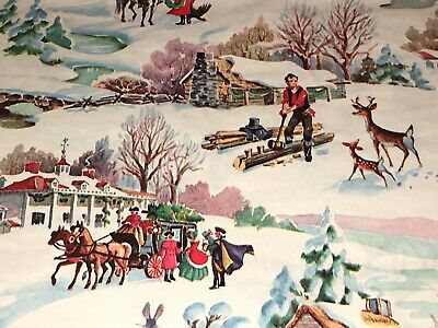 Vtg Christmas Wrapping Paper Gift Wrap 1950 Nos Victorian Farm Snow Scene