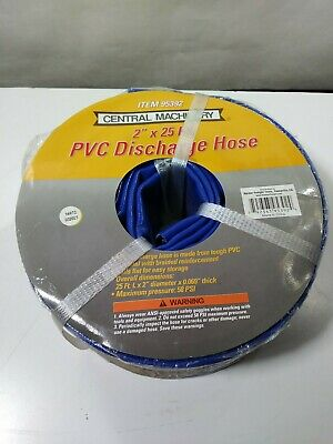 "Central Machinery PVC Discharge Hose 2"" x 25 ft Braided Reinforcement Blue"