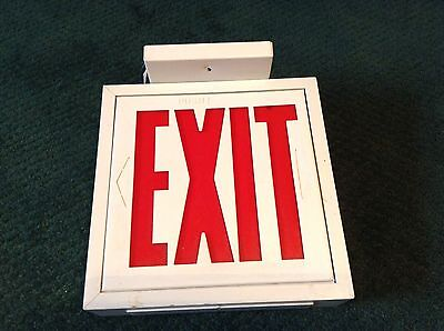 "Vintage Lighted Exit Sign Top Mounted With Wires 9 1/4"" X 8 1/2"""