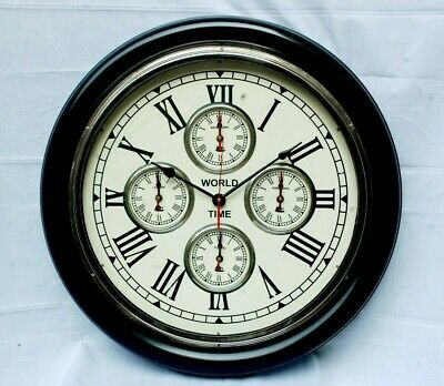 Vintage Style Wooden Quartz Decorative World Timer Wall Clock Free Shipping