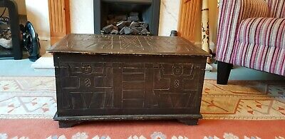 Vintage Rustic Weathered South American Aztec Hand Made Storage Blanket Box