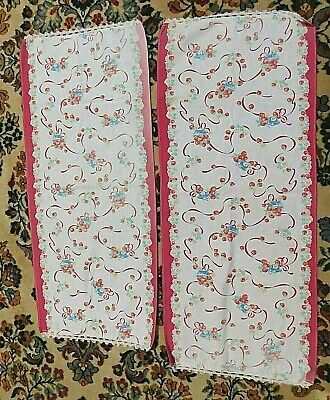 Vtg Pair Of Printed Cotton Hand Made Dresser Scarves/Runners