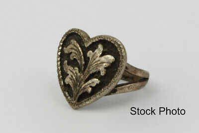 Hand Engraved Wade's Silver Shop Sterling Silver Heart Shaped Ring