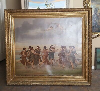 Antique Mythological 19th century oil painting (HUGE) mystery artist