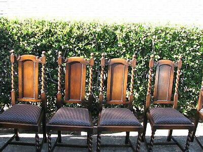 Set Of 6  Antique Barley Twist Oak Dining Chairs