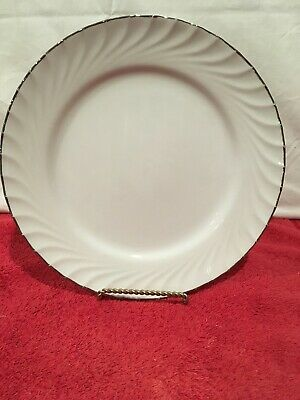 "Norleans China ESTATE Made in Japan 10 1/2"" Dinner Plate White Silver TRim"