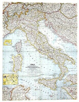 Sicily On Map Of Italy.1961 National Geographic Railroad Map Italy Rome Sicily Florence