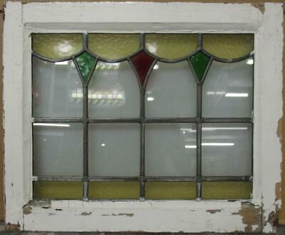 "OLD ENGLISH LEADED STAINED GLASS WINDOW Pretty Geometric Swag 20.75"" x 17"""
