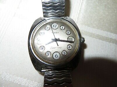Vintage Electronic 1970 Timex DYNABEAT Telephone Dial Mens Watch