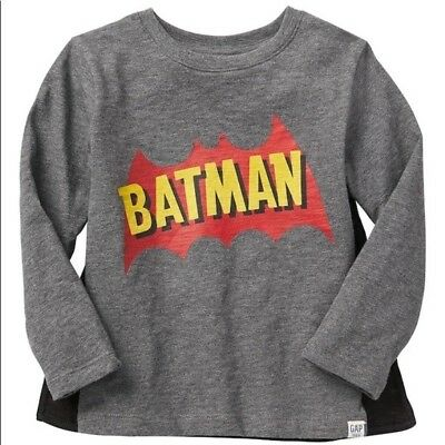 NEW GAP toddler boys batman long sleeve shirt with cape size 3T+ FREE GIFT