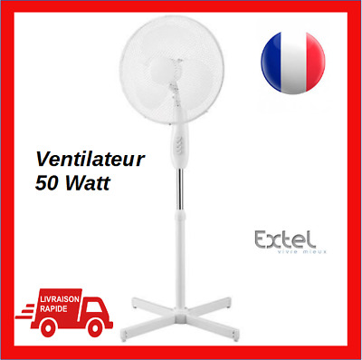 Ventilateur sur pied oscillant inclinable  50 watts