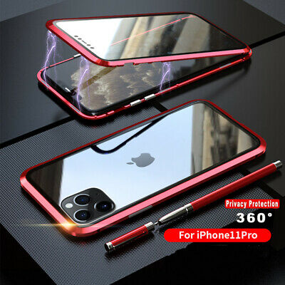 For iPhone 11 Pro Max Magnetic Adsorption Double Side Tempered Glass Case Cover