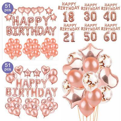 51x Happy Birthday 18/21st/30/40/50/60th Foil Confetti Latex Balloon Party Decor