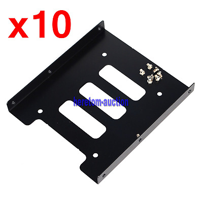 """10X 2.5"""" to 3.5"""" SSD HDD Black Metal Mounting Adapter Bracket Hard Drive Holder"""