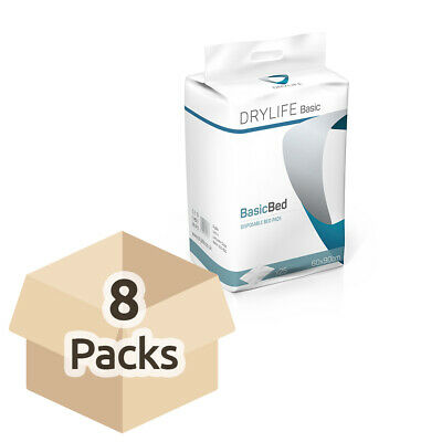 8x Absorbent Disposable Drylife Bed Pads - 60cm x 90cm - Pack of 25 - 1400ml