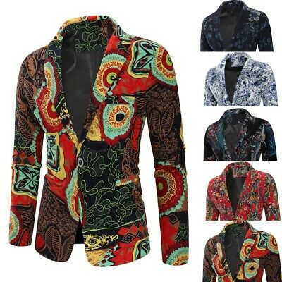 Mens Vintage Ethnic Printed Dress Floral Casual Suit Slim Fit Blazer Coat Jacket