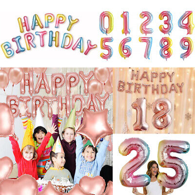 Colorful Rose Gold Number 0-9 Age Balloon Foil Jumbo Giant Happy Birthday Party