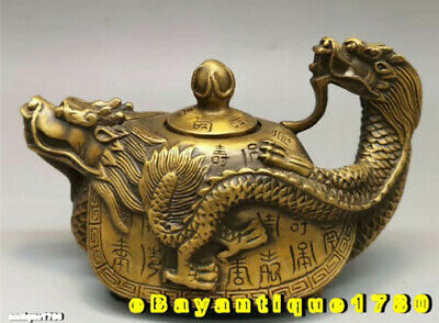 Collection Chinese Exquisite brass Hand-made dragon turtle teapot wine pot