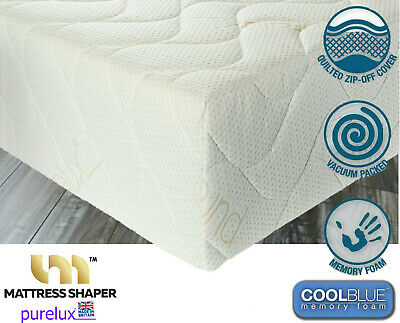 """Cool Blue  Memory Foam Mattress Purelux SuperQuilted cover - 4FT 6"""" Double"""