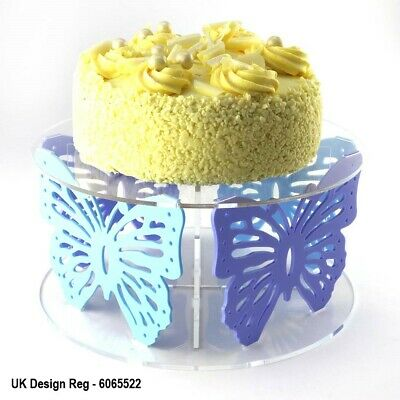 Butterfly Design Acrylic Cake Stand with 50 Colour Options - Party Flat-Pack